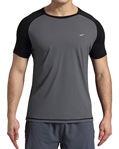 VAYAGER Men's Rashguard UPF 50+ Short Sleeve Swim Shirt(Gray XXXL)