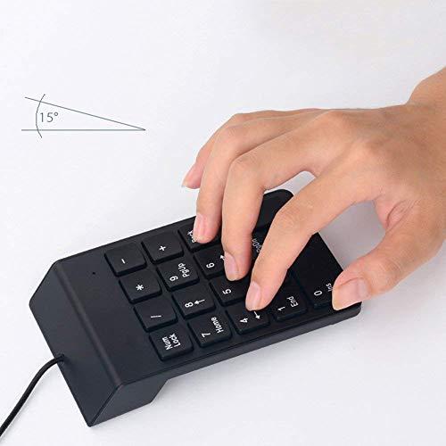 YCX Kabel USB-Ziffernblock Slim Mini Zahl Pad Digital Tasten Laptop PC Notebook-Desktop,Ziffernblock Slim Tastatur Kabel Keypad,Schwarz