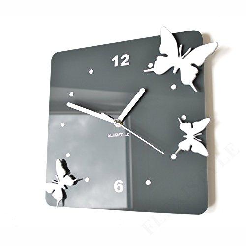 FLEXISTYLE Orologio da Parete Salotto Tondo Moderno Farfalle 3D Decorativo Silenzioso 30 cm