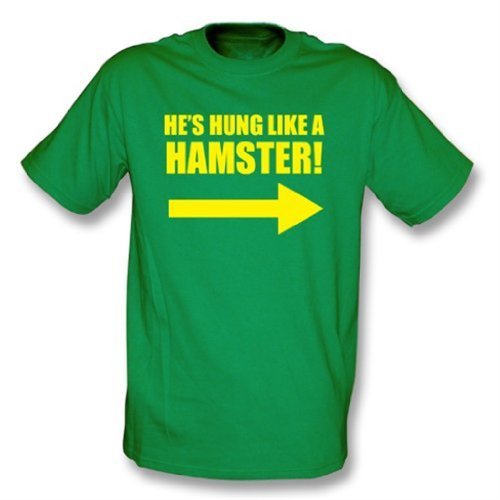 Hung Like una camiseta del hámster, color Kelly Green