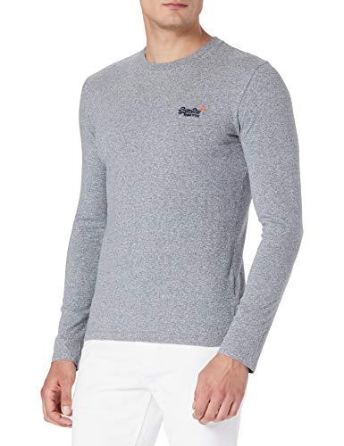 Superdry OL Vintage Emb LS Top NS Camiseta, Gris, M para Hombre