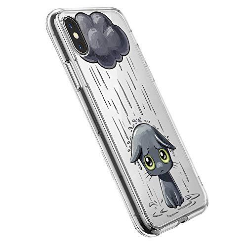 Pacyer Case kompatibel mit iPhone X Hülle Silikon Ultra dünn Transparent Handyhülle Rückschale TPU iPhone X Schutzhülle für Apple iPhone X Case Cover Mädchen Elefant Federn(8)