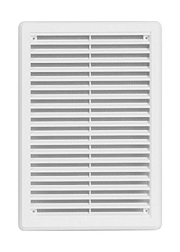 Lüftungsgitter - Abluftgitter aus ASA-Kunststoff mit Insektenschutz: 200 x 300 mm - weiß