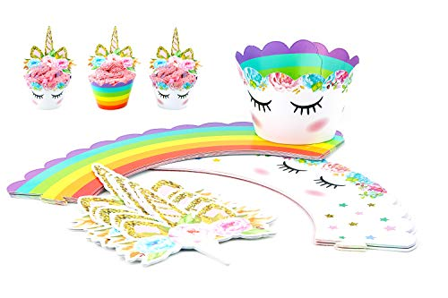 SWEETY DESSERTS - Unicorn Cupcake Toppers and Wrappers - Double Sided Kids Party Decorations Set of 30Pcs Supplies for birthday Parties, Kids Parties, Baby Showers