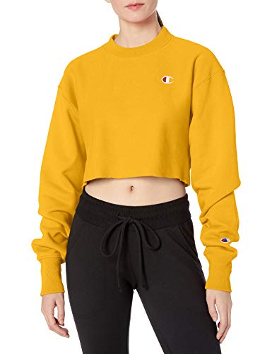 Champion LIFE Women's Reverse Weave Cropped Cut Off Crew, Paper Orchid, 2X Large