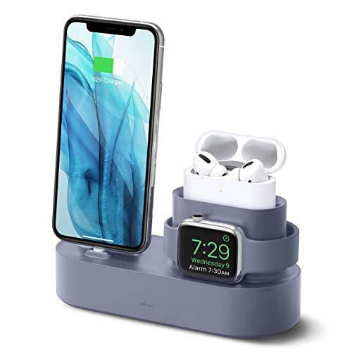 elago Stand 3 in 1 Dock Station Progettata per Apple Watch SE/Serie 6/5/4/3/2/1, AirPods Pro, iPhone11 Pro Max/Pro/11, Tutti i Modelli di iPhone [Cavi Originali Richiesti-NON Inclusi](Lavanda Grigio)