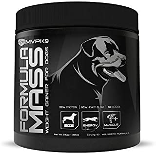 MVP K9 Supplements Formula Mass Weight Gainer for Dogs Made in The USA - Helps Increase Weight & Adds Mass on Skinny Dogs