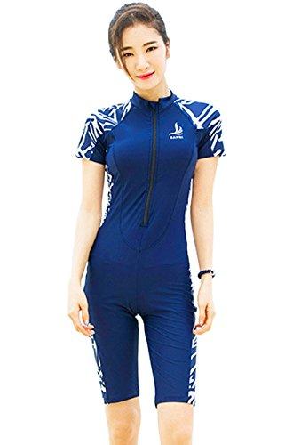 Hungo Damen Badeanzug mit Bein und Arm Einteiler Bademode mit UV Schutz Kurzarm Schwimmanzug Swimsuit mit Shorts