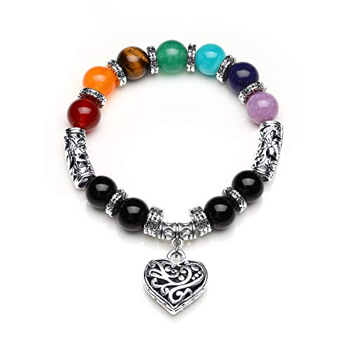 Mayting 10 MM Beads Yoga Balancing Reiki Healing Bracelet 7 Chakra Antique Silver Colour Hollow Heart Bracelet