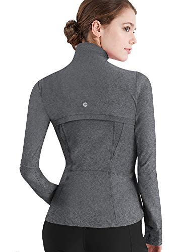 Lock and Love LL QJC3008 Women's Running Shirt Full Zip Workout Track Jacket with Thumb Holes M Heather_Charcoal