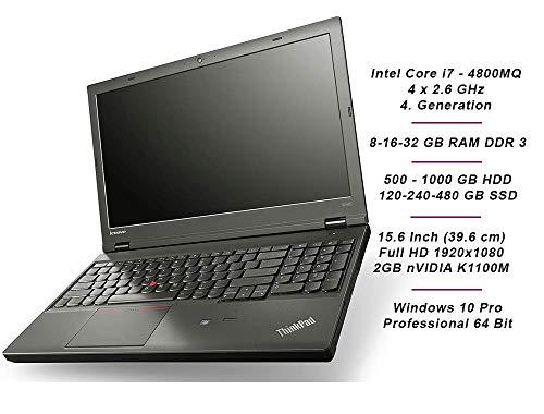 Lenovo ThinkPad W540 Business Notebook Intel i7 4 х 2.7 GHz Prozessor 16 GB Arbeitsspeicher 1000 GB HDD 15.6 Zoll Display Full HD 1920x1080 nVidia 2 GB Cam Windows 10 Pro DIX (Generalüberholt)