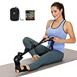 Foot and Calf Stretcher-Stretching Strap For Plantar Fasciitis , Heel Spurs, Foot Drop, Achilles Tendonitis & Hamstring. Yoga Foot & Leg Stretch Strap. (Black)