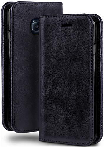 moex Booklet in Lederoptik - Kartenfächer & Aufstellfunktion kompatibel mit Samsung Galaxy S6 | Eleganter 360 Grad Vollschutz, Dunkel-Blau