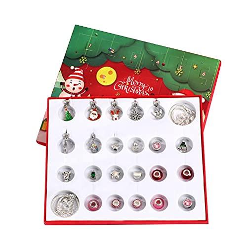 ABCDJHH Juego de Joyas con Calendario de Cuenta Regresiva de Navidad, Calendario de Adviento, Juego de Collar de Pulsera para niños, Accesorios de Moda para niñas, 24 sorpresas navideñas