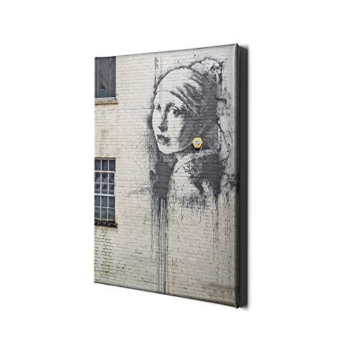 Banksy Ragazza con Una Perla orecchino Tela Stampa Arte Pittura Parete Decor Regalo Stampa Cornice Ritratto incorniciato stampabile Oro