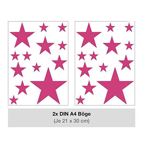STERNEN SET Kinderzimmer Wandsticker 26 Stück Sterne Sternenhimmel zum Kleben Wandtattoo Wandaufkleber Sticker Wanddeko (Pink)