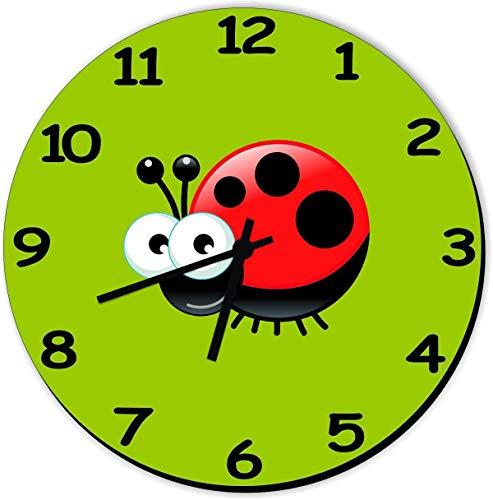 Shirtstown Kinderzimmer Uhr, lustige Motive, Marienkäfer, Tiere Natur Zoo Haustier Kinder Deko Uhren Lernen, Größe Ø 20cm, Farbe Hellgrün
