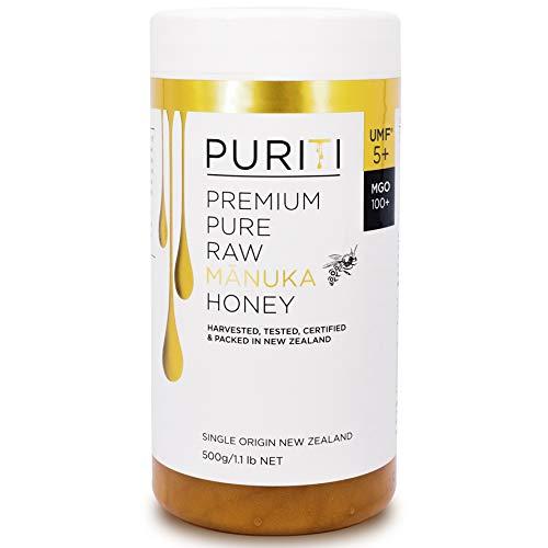 PURITI Manuka Honing MGO 100+ 500g uit Nieuw-Zeeland - gecertificeerd, laboratorium getest, zuiver natuurproduct, vrij van additieven, premium kwaliteit