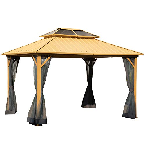 Outsunny 10'L x 12'W 2-Tier Roof Steel Hardtop Aluminum Permanent Gazebo Canopy with a Mesh Decorative Patio, Wood Grain Color