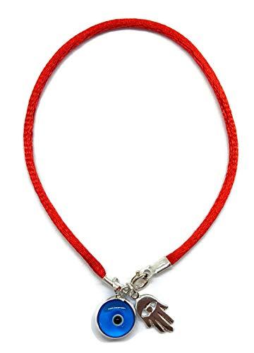 MYSTIC JEWELS By Dalia - Armband rotes Garn für Glücksbringer - Türkisches Auge in Blau und Hand der Fatima Hamsa - 925 Sterling Silber