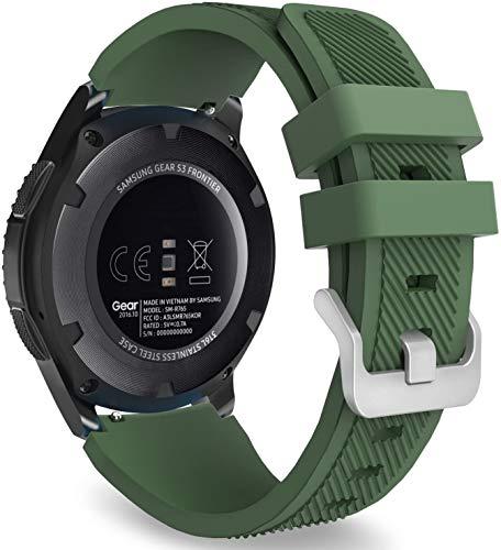 Correa de Silicona para Huawei Watch GT/GT2 46mm Banda Deportiva Correa de Reloj Suave y Transpirable Pulsera de Repuesto Compatible con Galaxy Watch 46mm/Garmin Vivoactive 4 (Verde Oscuro)