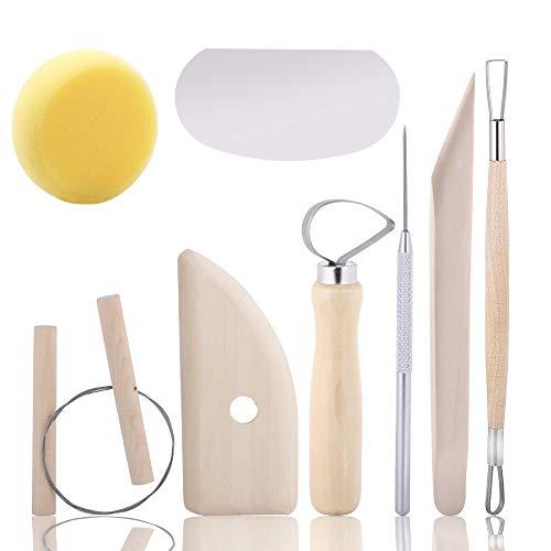 8 Pcs Ceramic Pottery Tools, Tubala Wooden Clay Carving Sculpting Modeling Tools Pottery Sculpting Tools Set