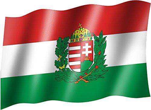 Sportfanshop24 Flagge/Fahne UNGARN mit Wappen Staatsflagge/Landesflagge/Hissflagge mit Ösen 150x90 cm, sehr Gute Qualität