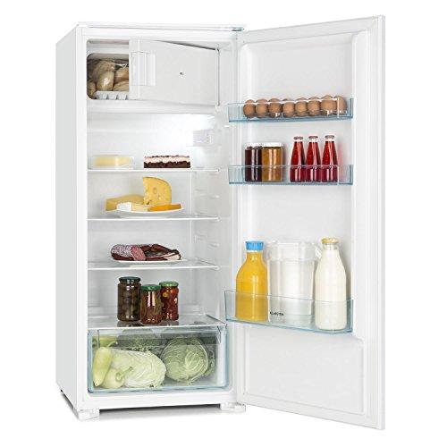 Klarstein Coolzone 186 - Kühl- und Gefrierkombination, 171 Liter Kühlschrank, 15 Liter Gefrierfach, 4 Glas-Ablagen, 3 Türablagen, geeignet für Einbauschränke, wechselbarer Türanschlag, weiß