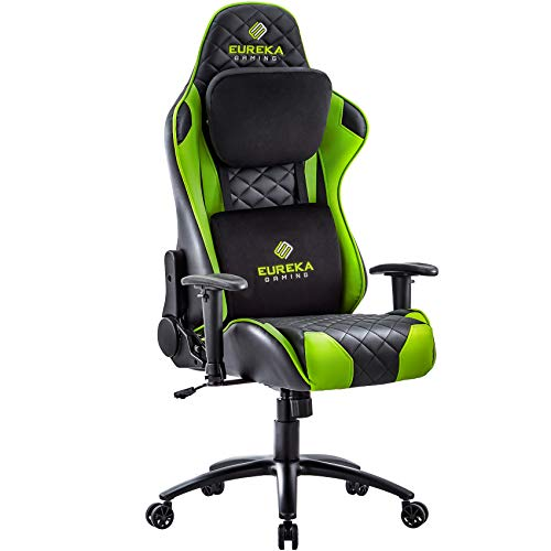 Eureka Gaming Chair Office Chair High Back Computer Chair Ergonomic Adjustable Swivel Desk Chair W Headrest and Lumbar Support PU Leather PC Gamer Chair for Gamer, Black & Green
