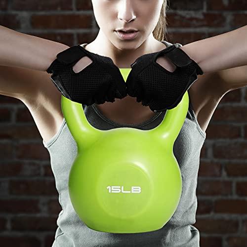 UseeShine Kettlebell 15 lb, Weights Training Kettlebells,Vinyl Coated Cast Iron Hand Grip Kettlebell, Kettlebell Workout Exercise Equipment for Women/Men/Beginner/Home Gym/Strength Training Equipment