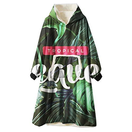 Manta Sudadera con Capucha, Impresión Soft Warm Sherpa Fleece Sweatshirt, Talla Unica para Hombre y Mujer,Green 3,One