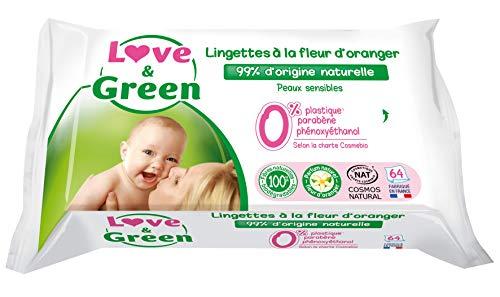 Love & Green Lingettes Hypoallergéniques Fleur d'Oranger Bio 64 Pièces