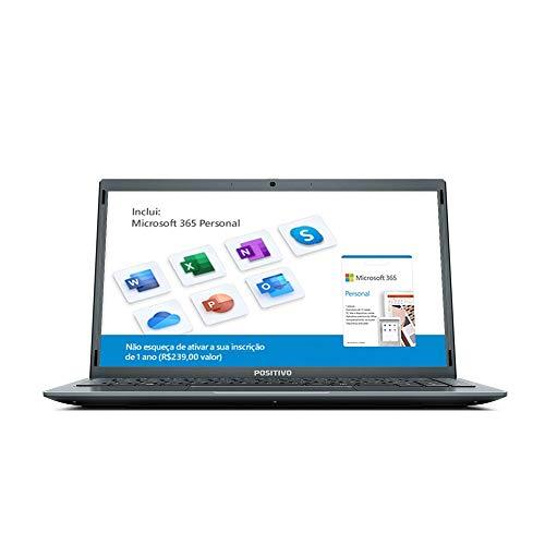Notebook Positivo Motion Q4128C Intel® Atom® Quad-Core™ Windows 10 Home 14.1' - Cinza – Inclui Microsoft 365*