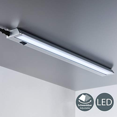 Luce LED sotto pensile cucina, luce bianca neutra 4000K, lampada moderna da incasso per l'illuminazione da interno, interruttore on off, plastica color titanio, include LED integrati 8,5W 230V IP20