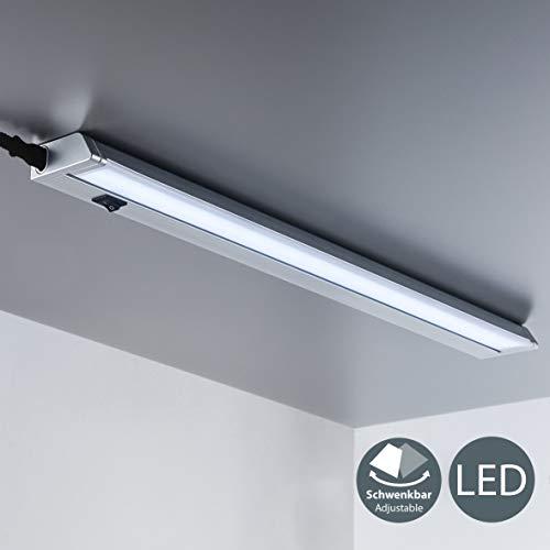B.K.Licht - Lámpara fluorescente LED giratoria para armarios y cabinetes, de luz blanca neutra, iluminación bajo mueble con interruptor de luz, 8,5 W, 4000 K, 1000 lm, color gris