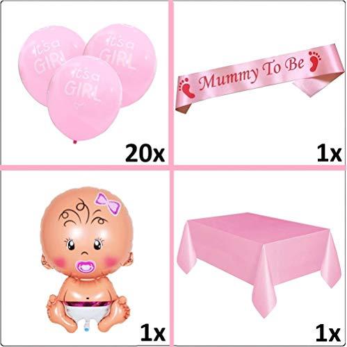 Layal Design Baby Shower Party Deko Set | Its a Girl Mädchen Babyparty Babyshower Dekoration (23 Teilig)