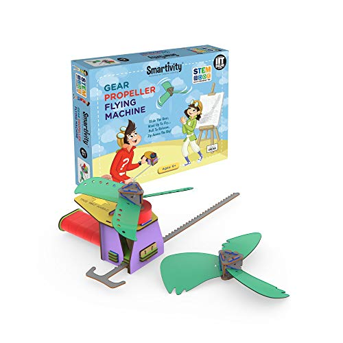 Smartivity Gear Propeller Flying Machine STEM STEAM Educational DIY Building Construction Activity Toy Game Kit, Easy Instructions, Experiment, Play, Learn Science Engineering Project 6+