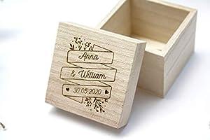 Boîte à alliances personnalisée en bois gravé, porte alliances pour mariage, gravure avec vos prénoms et la date du...