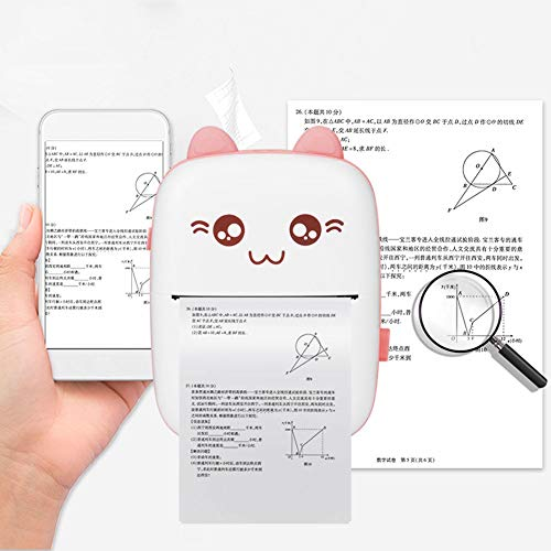 Clasken Impresora fotográfica, Herramienta de impresión, teléfono móvil multifunción, portátil Que Ahorra Tiempo para Grabar Preguntas incorrectas(Pink)