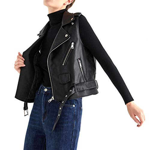 Chaleco de cuero de motociclista de moda para mujer Chaleco sin mangas de motociclista con cinturón ajustable