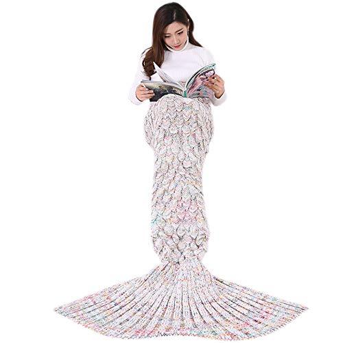 WSLCN Manta de cola de sirena para niños y adolescentes adultos, hecha a mano de ganchillo magnífica y acogedora, saco de dormir, mantas de uso más cálido (blanco 180 x 90 cm, 680 g)