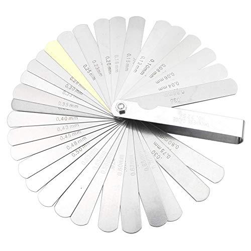 VOARGE Fühlerlehre Set 32 Klingen Edelstahl Klingen, zweifach markiert, metrisch und imperial, Spaltmesswerkzeug, Klingen aus Stahl zum Messen von Spaltbreite/Dicke