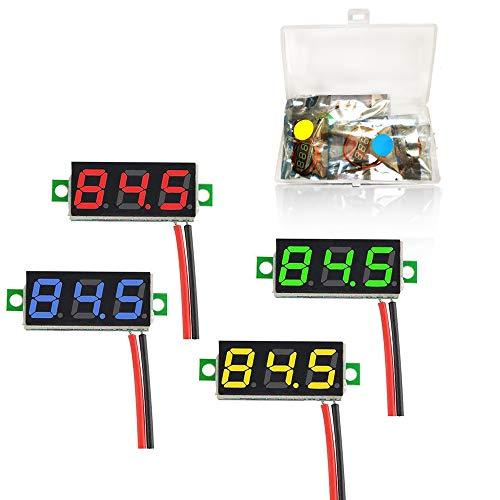 YIXISI 4 Stück 0,28 Zoll Mini Digital Voltmeter, LED-Anzeige Voltmeter, Messbereich DC 2.4-30V, Zwei Drähte Spannungsprüfer,Verpolungsschutz und Genaue Druckmessung (Rot, Gelb, Grün, Blau)