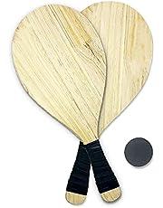 Juego de raquetas de playa, apto para parques, playa y exteriores, juego de 2 raquetas de pino premium, 2 bolas de goma y 1 bolsa de transporte, juego de remo de playa para todas las edades