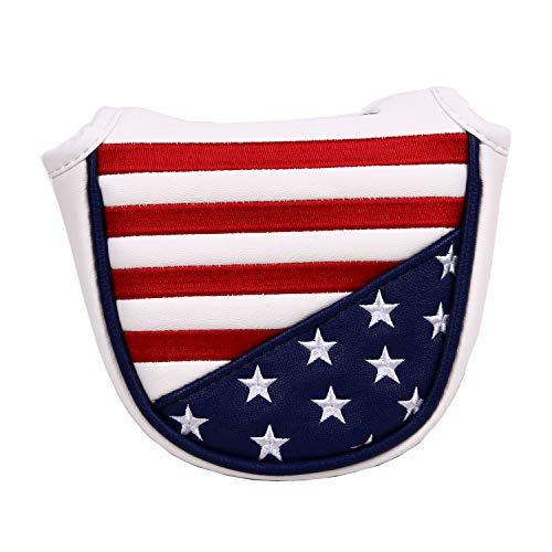 USA Stars and Stripes Magnetic Closure Golf Mallet Putter Head Cover for Odyssey Scotty Cameron Golf...