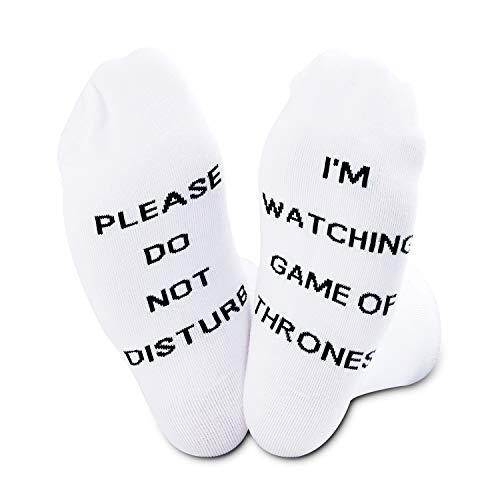 Juego de Tronos Regalo de Juego de Tronos Fans Regalo Pleas Do Not Disturb I'm Watching Game Of Thrones Calcetines divertidos