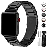 Fullmosa Acero Inoxidable Correa Compatible Apple Watch/iWatch Serie 5, Serie 4, Serie 3, Serie 2, Serie 1, Apple Watch Correa 38mm 40mm 42mm 44mm, Negro 42mm/44mm