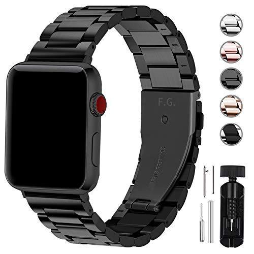 Fullmosa Kompatibel Apple Watch Armband 42mm(44mm Serie 5/4), Rostfreier Edelstahl Watch Ersatzband für iWatch/Apple Watch Serie 5/4/3/2/1,42mm Schwarz