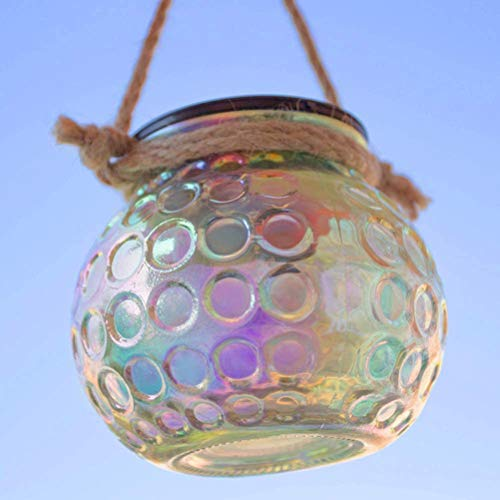 DUOCACL 2 lámparas solares Powered Glass Garden Lights, lámparas de cristal, lámparas de araña, impermeables para interiores o exteriores