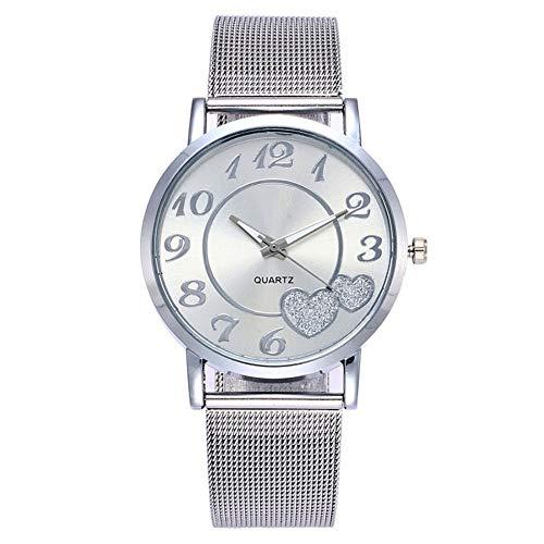 Lubier Relojes de aleación de malla correa de corazón patrón Dial de cuarzo reloj de pulsera para mujeres y niñas 23 * 4cm A